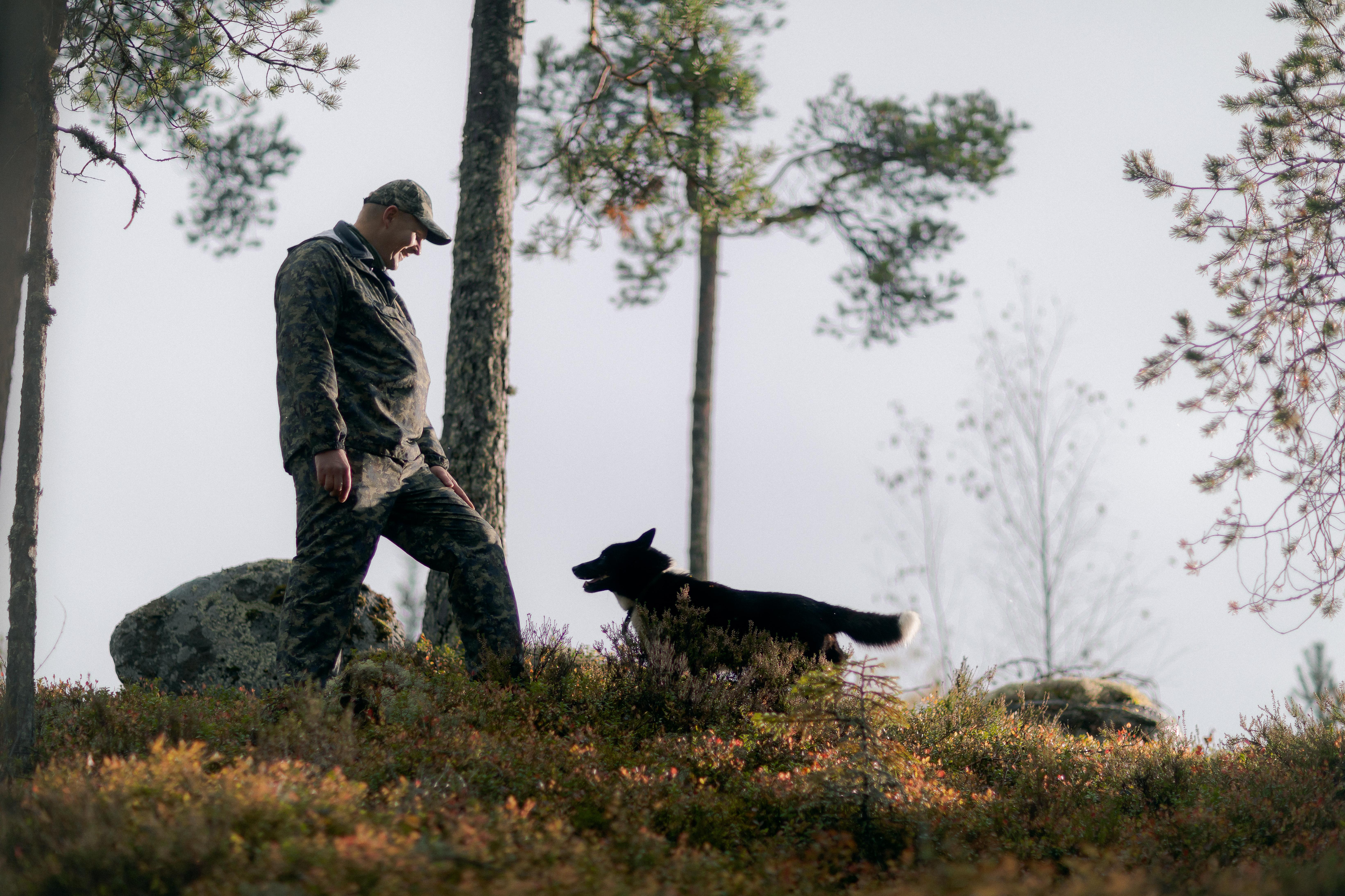 Juha Savolaisen kaverina metsällä on Sisu-koira.
